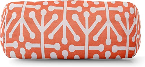 Majestic Home Goods Orange Aruba Indoor / Outdoor Round Bolster Pillow 18.5″ L x 8″ W x 8″ H