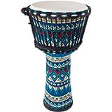 AKLOT Djembe African Drum 10 Inch Blue Goat Skin Drum Head Cloth Drum