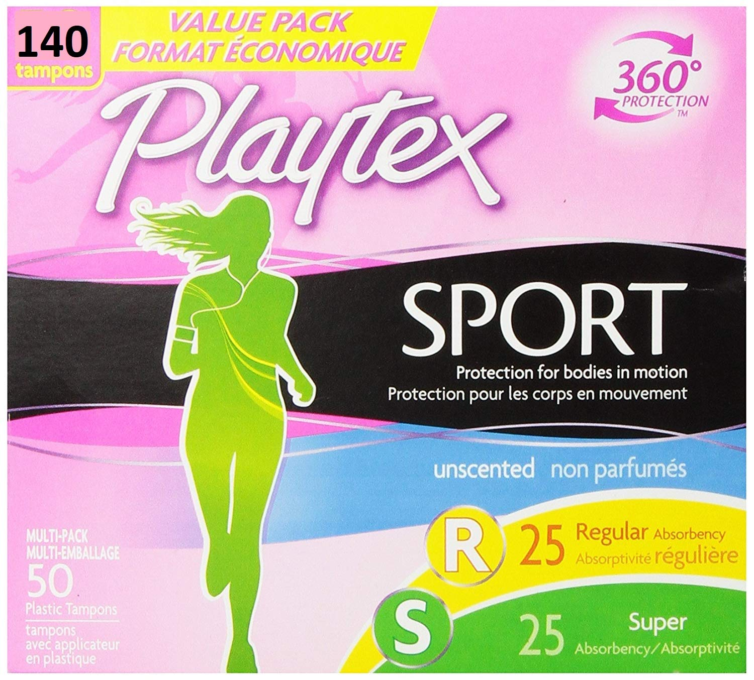 Playtex Sport Tampons with Flex-Fit Technology, Regular & Super Multi Pack, Unscented - 140 Count (140 Count)