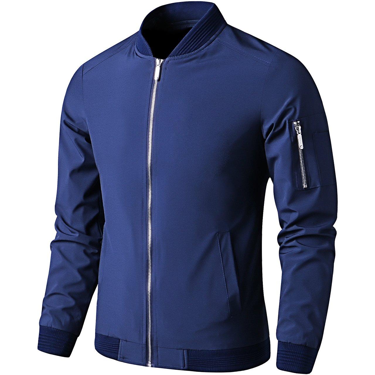 LTIFONE Mens Casual Jacket Zip up Lightweight Bomber Flight Sportswear Jacket Windbreaker Softshell with Ribbing Edge(Blue,L)