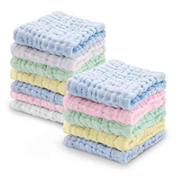 Baby Muslin Washcloths Multi-Use Baby Wash Shower Towel 6 Layers Cotton Baby Wipes Pack of 6 A, 10*10