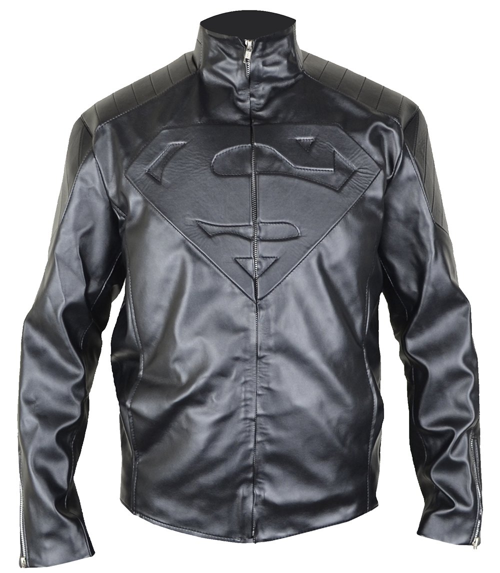 MSHC Black Superman Jacket Fitted Super Hero Smallville Leather Jacket (2XL)