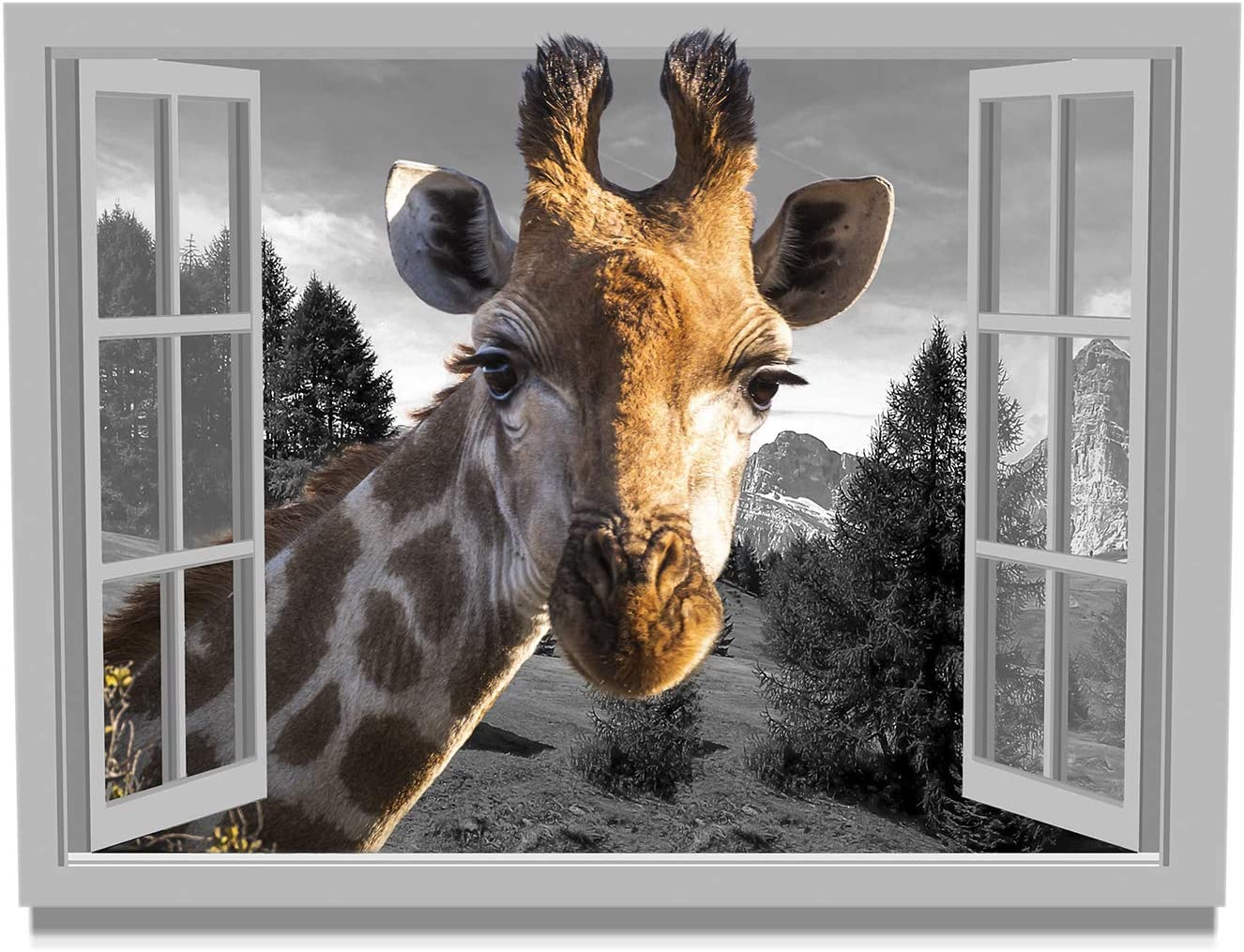 Giraffe Wall Art for Living Room Animal Head from Open Window Outside Room Painting Print on Canvas Black White Landscape Window View Picture Poster Framed Wall Decor 12x16inches Ready to Hang