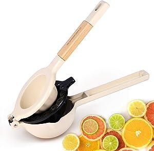Premium Metal Lemon Squeezer-Manual Citrus Press Juicer with Detachable Wooden Handle-Easy Lime Squeezer