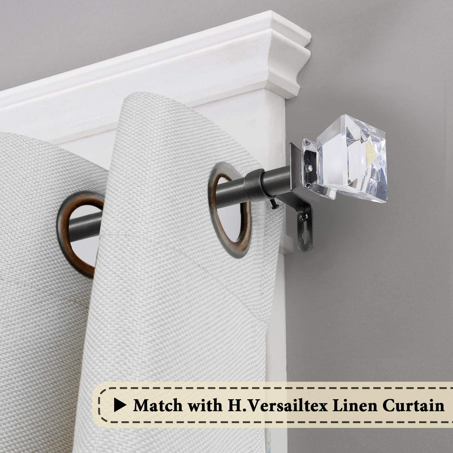 3//4 H.VERSAILTEX Adjustable Curtain Rod for Windows 48 to 84 Inch Inch Diameter Matte Black Wall Curtain Rod with Acrylic Square Finials