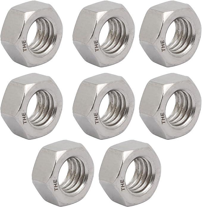 "12pcs 3//8/""-16 BSW Thread 304 Stainless Steel Hex Nut Fastener Silver Tone"
