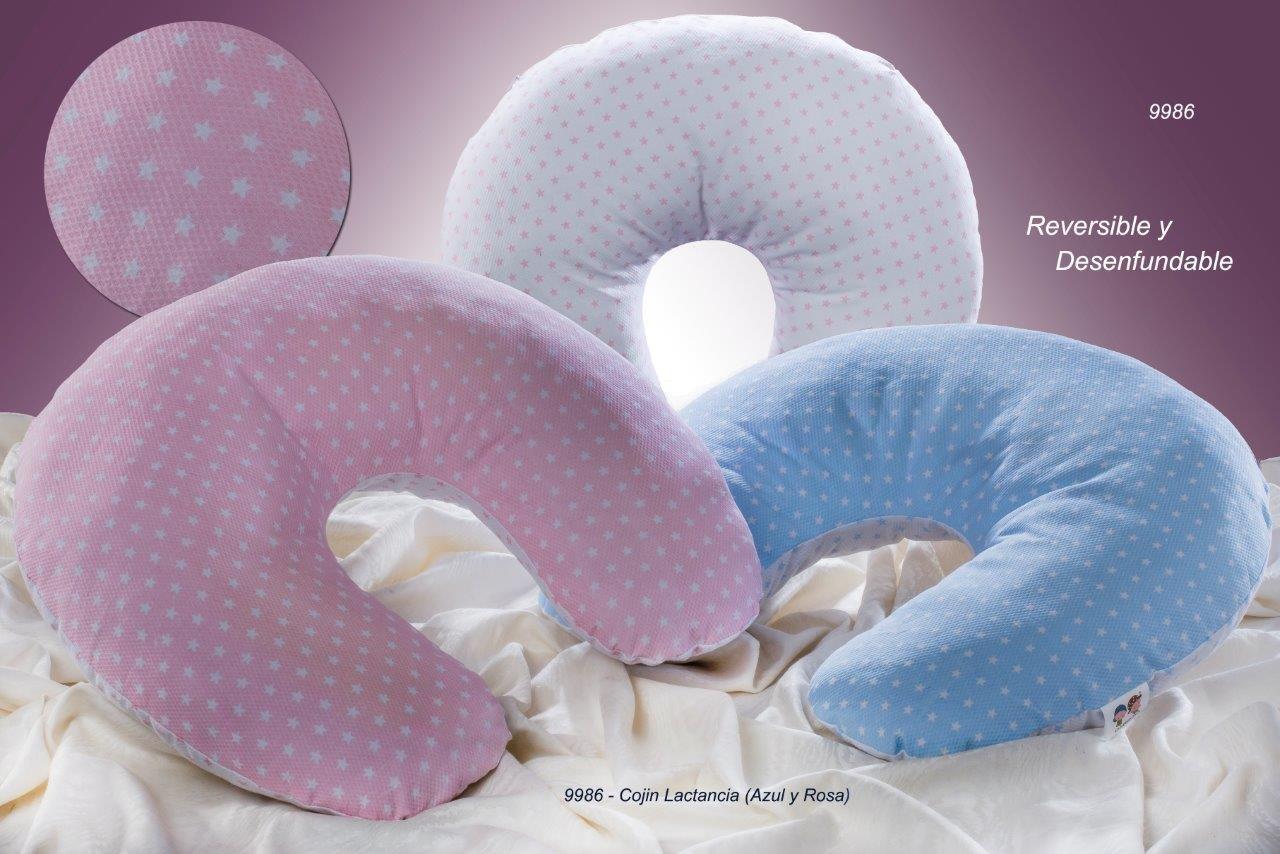 Gamberritos Coj/ín de lactancia ESTRELLAS de tejido pique color Azul