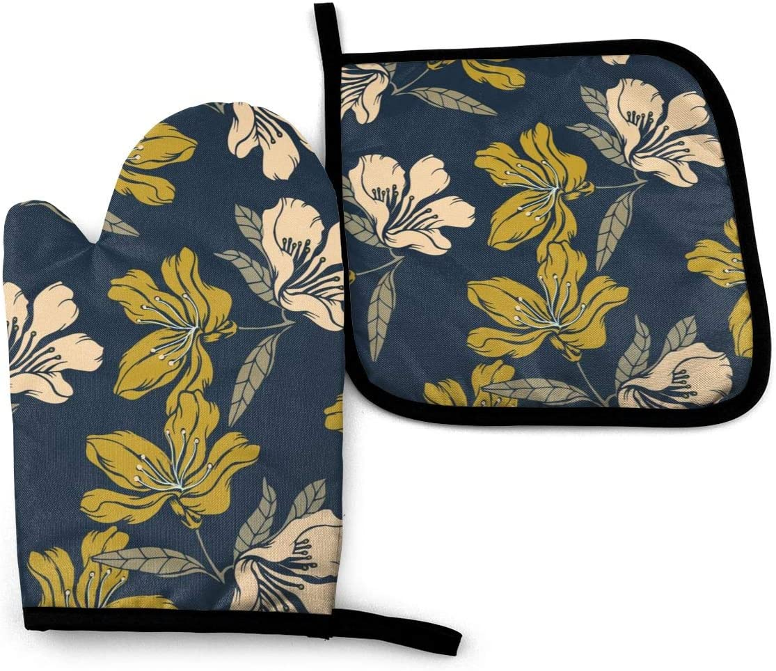 Abucaky Summer Floral Oven Mitts and Pot Holders Insulated Gloves & Kitchen Counter Safe Mats for Cooking BBQ Baking Grilling (2-Piece Set)