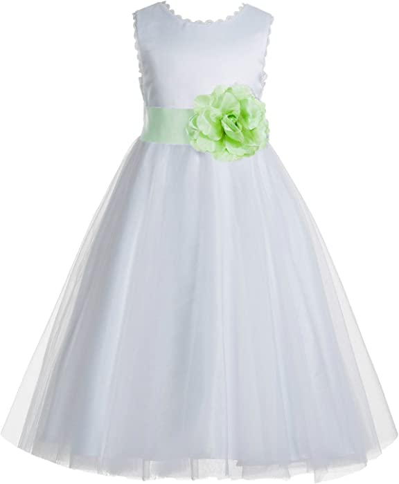 c3c5a412338 ekidsbridal V-Back Lace Edge Ivory Flower Girl Dresses Apple Green Baptism  Dress Birthday Girl