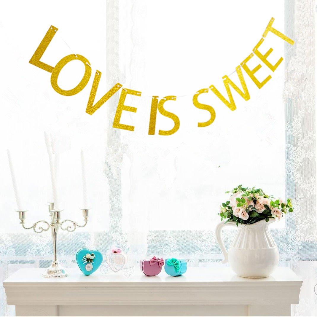 Love is Sweet Gold Glitter Bunting Banner Sign,Bachelorette Engagement partyreception Decor