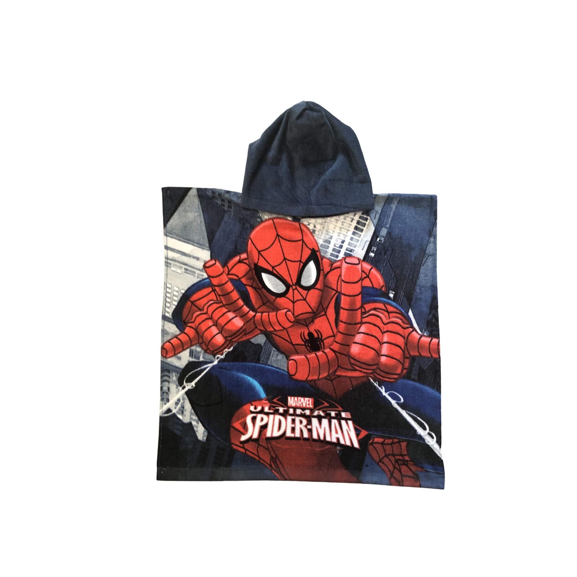 Marvel Spiderman Shooting 2 webs Jumping Building Grey Hooded Poncho Towel