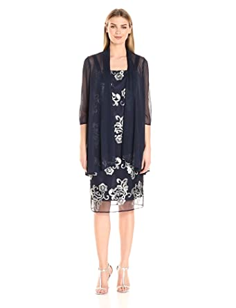 R&M Richards Women's Embroidered Jacket Dress at Amazon Women's ...