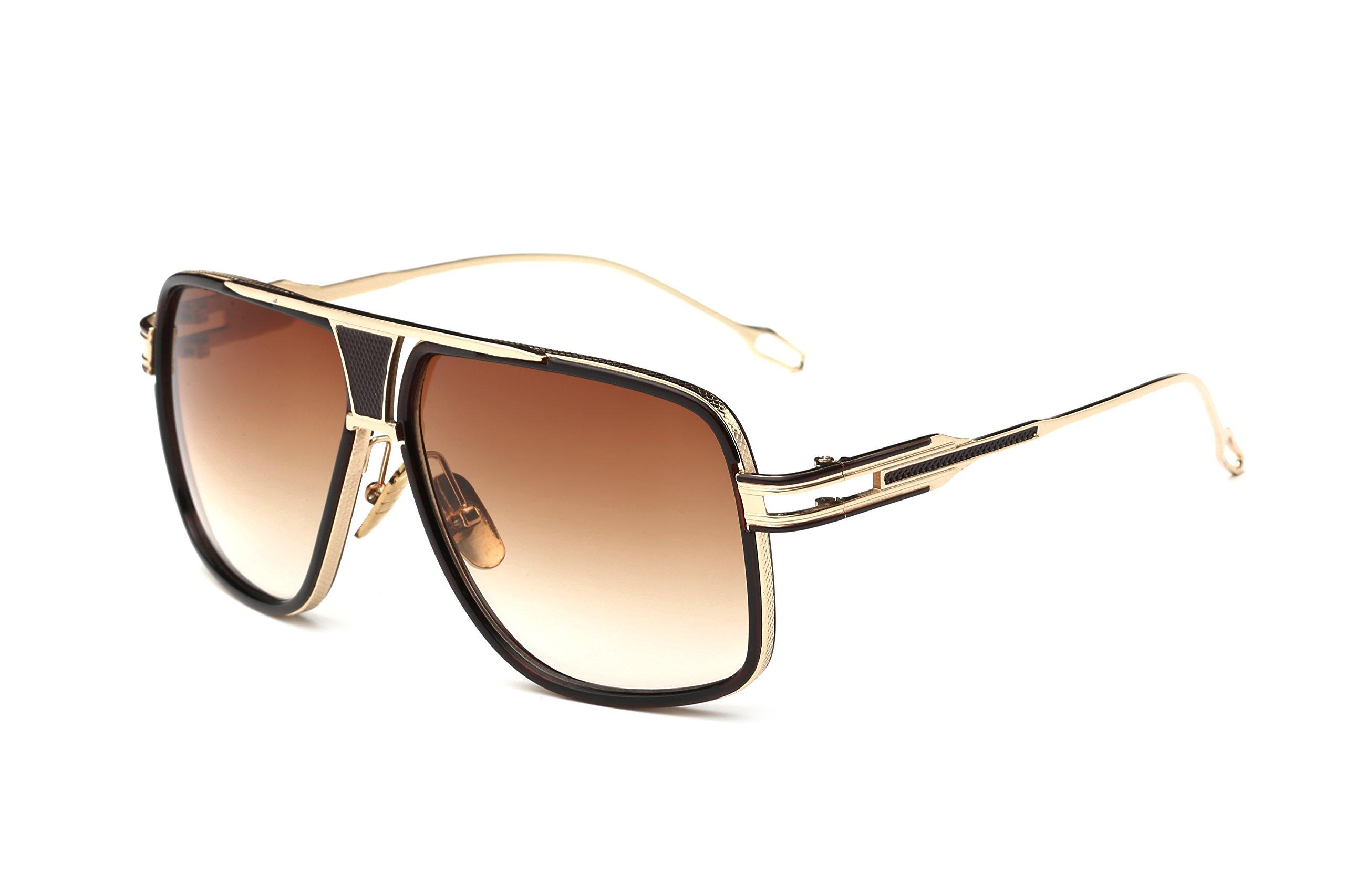 Gobiger Aviator Sunglasses for Men 100% UV Protection Goggle Alloy Frame 59mm Lens Width (Gold Frame, Brown)