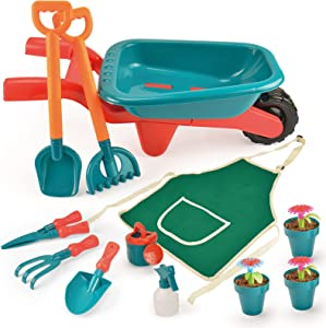 unanscre Gardening Tool Set for Kids, with Toddler Wheelbarrow, Watering Can, Spray Bottle, Double Rake, Shovel, Trowel, Pruner, Flowerpots, Flowers, Apron, Garden Toys for Age3+ Outdoor Yard Play