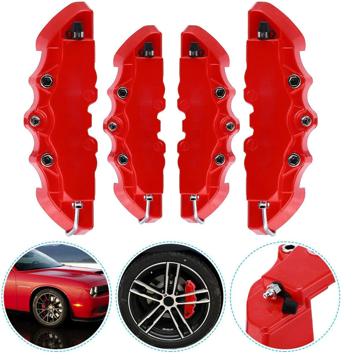 JX-Trading Set of 4 Caliper Covers Front and Rear 3D Style Car Universal Disc Brake Caliper Covers Decorations Kit