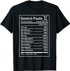 dbedbef70899ab Gemini Facts - Funny Gemini zodiac T-shirt Cool short sleeve
