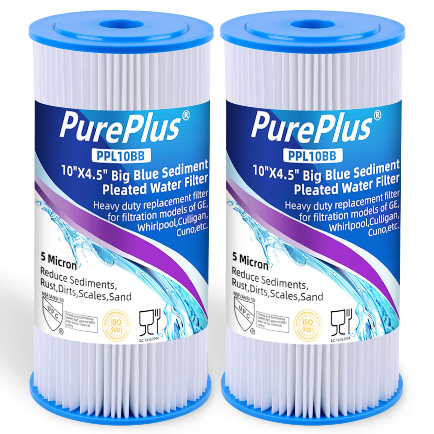 5 Micron 10'' x 4.5'' Whole House Big Blue Pleated Sediment Water Filter Replacement Cartridge Compatible with DuPont WFHD13001, GE FXHSC, Culligan R50-BBSA, Pentek R50-BB, W50PEHD, GXWH40L, 2-Pack