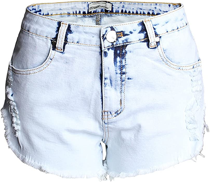 fec3332f22 Spring Moon Hole Jeans Women high Waist Light-Colored White Worn Washed  Washed Denim Shorts