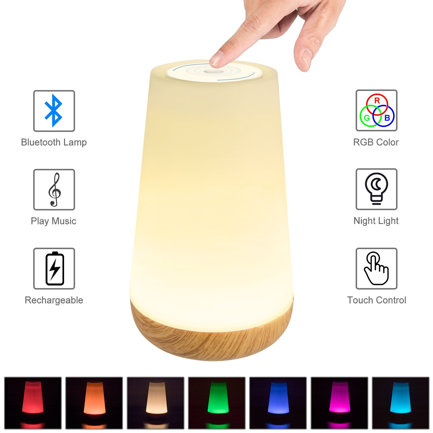Bluetooth Speaker Light, Touch Control Bedside Lamp, YaFex Portable Touch Control Table Lamp, Dimmable RGB Multi-Color Changing Night Light for Bedroom [Upgraded Version]