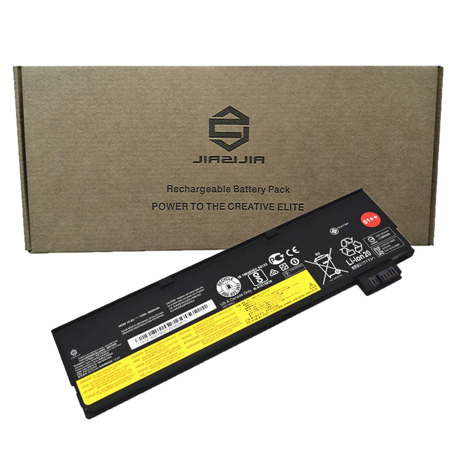 JIAZIJIA Compatible Laptop Battery with Lenovo 01AV427 [10.8V 72Wh 6600mAh 6-Cell] ThinkPad P51S P52S T470 T480 T570 T580 TP25 A475 A485 Series 61++ 01AV428 01AV492 4X50M08812 SB10K97584 SB10K97585 by JIAZIJIA (Image #1)