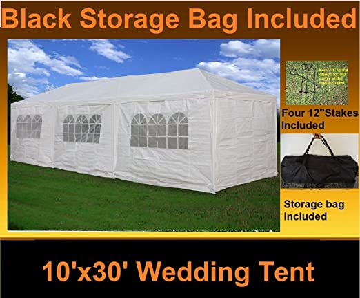 Amazon.com  10u0027 x 30u0027 Party Wedding Tent Gazebo Pavilion Catering Shelter White  White Tent  Garden u0026 Outdoor  sc 1 st  Amazon.com & Amazon.com : 10u0027 x 30u0027 Party Wedding Tent Gazebo Pavilion Catering ...