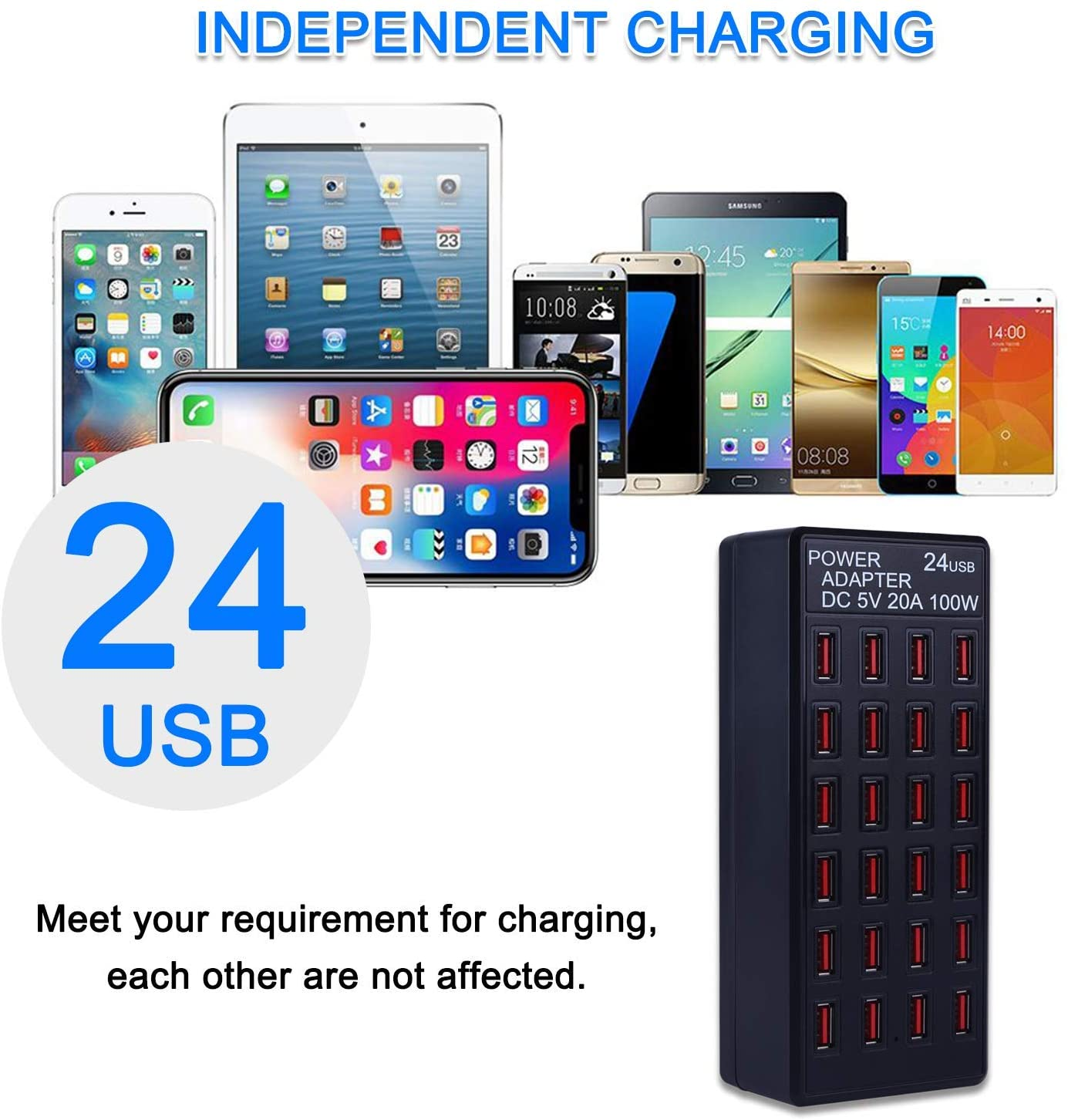 20A and More Devices,fit School,mall,Hotel,Shop 100w 24 Port USB Fast Charging Station,Travel Desktop USB Rapid Charger,Multi Ports Charging Station Organizer Compatible with Smartphones,Tables