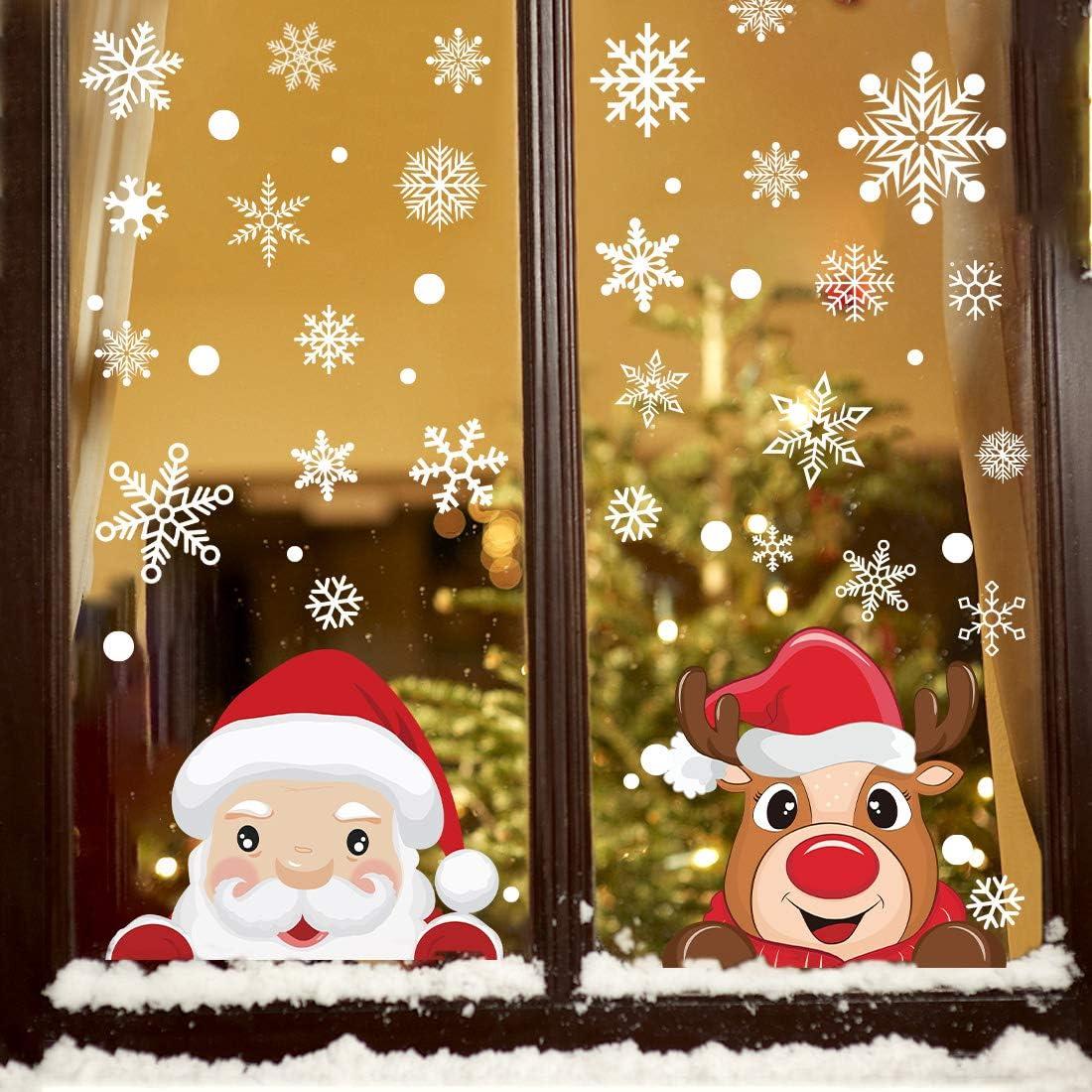 8 sheet Christmas Snowflake Window Glass Cling Stickers Santa Claus Decals Xmas