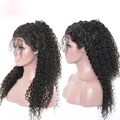 Amazon.com : 150% Density Pre Plucked Full Lace Human Hair Wigs Brazilian Deep Curly 360 Lace Wigs With Baby Hair 100% Remy Human Hair Wigs (8