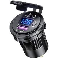 USB autolader type C PD 3.0 + USB-A QC 3.0-30W + 18W, 12V/24V Dual auto-oplaadadapter met schakelaar, LED-voltmeter…