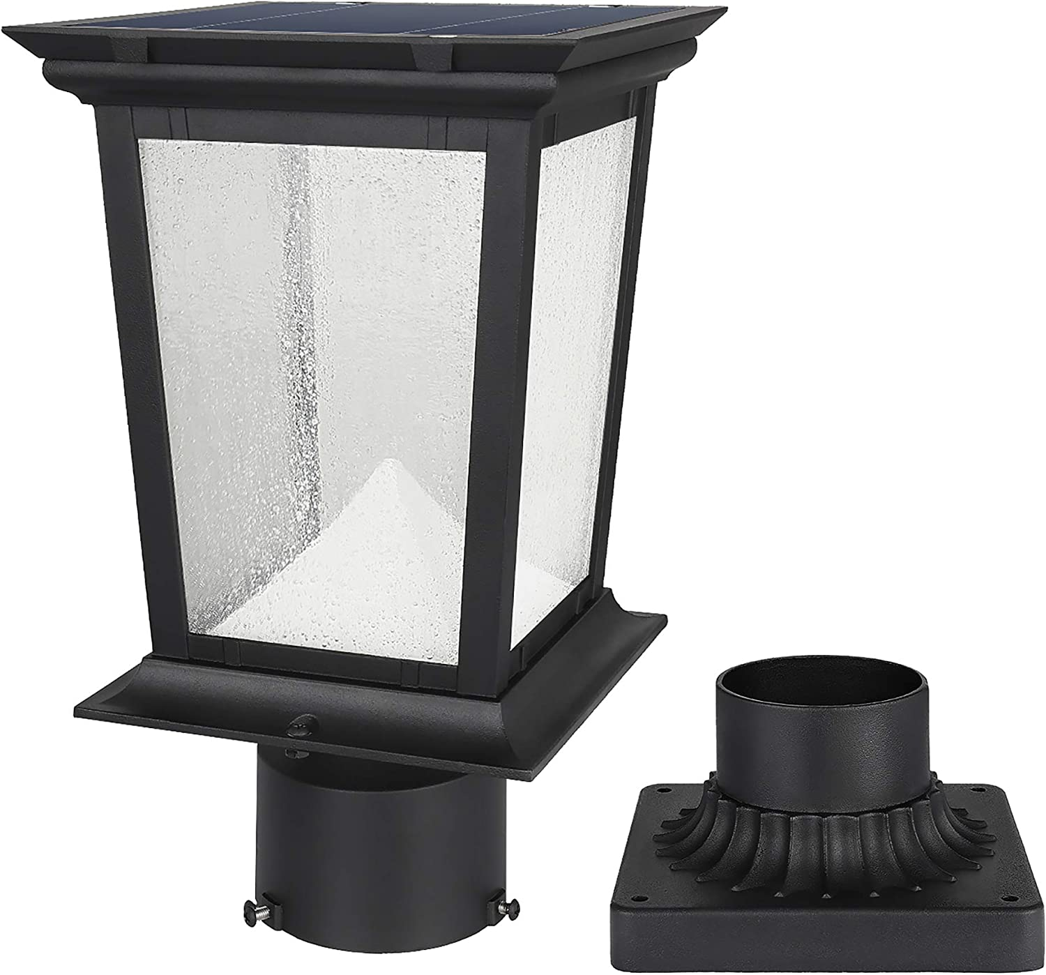 Solar Post Light Outdoor, Aluminum Exterior Motion Sensor Post Pole Lantern with 3 Inch Pier Mount Base, Daylight White 6500K Glass Post Cap Lights Fixture for Garden Yard Fence Porch, Black Finish