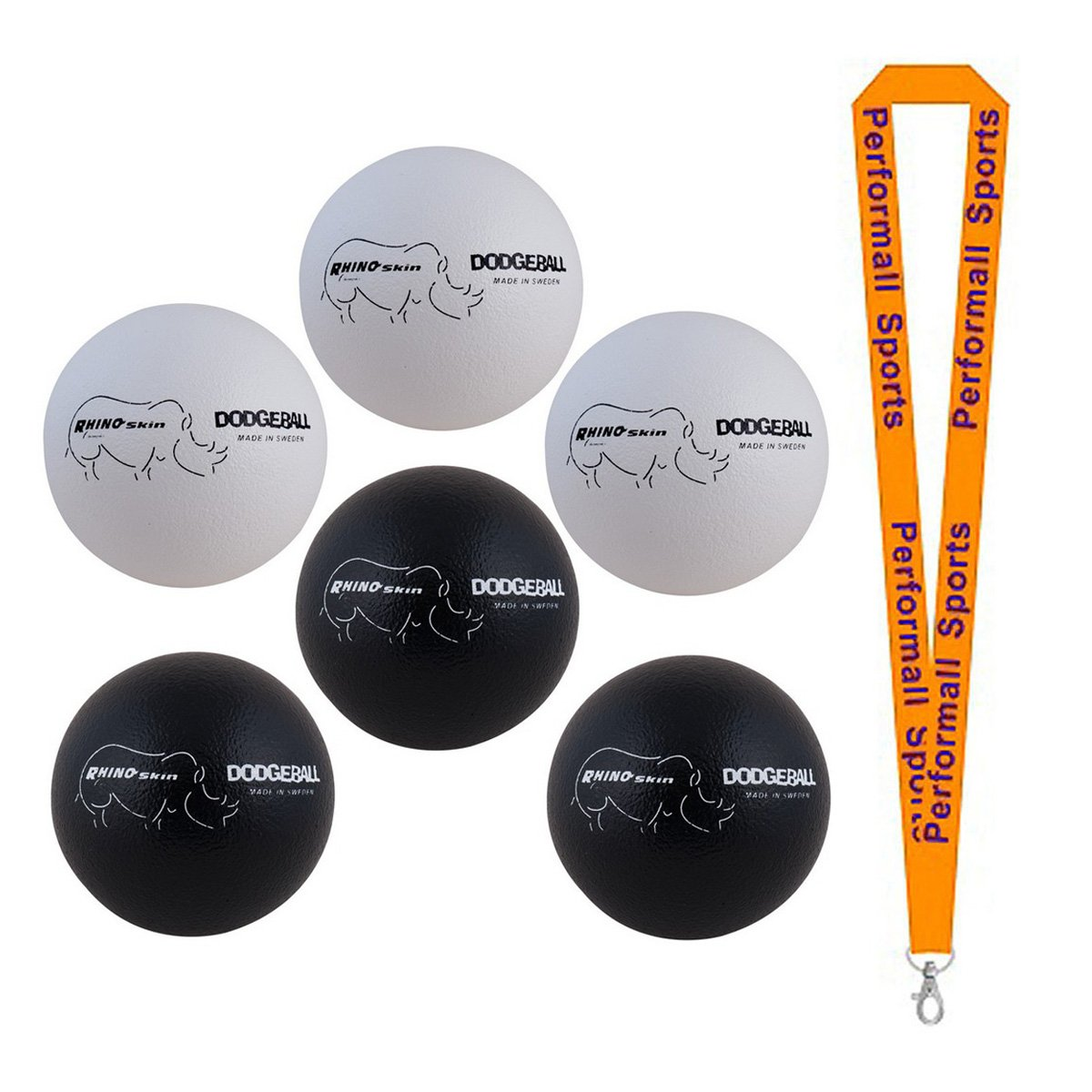 Champion Sports Rhino Skin Dodgeball Set Black / White (Set of 6) with 1 Performall Lanyard RXD8BWSET-1P by Performall Sports Dodgeballs