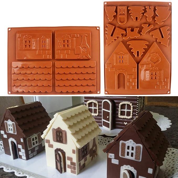 Espeedy Moldes de chocolate,2 Unids / set 3D Casa de Pan de Jengibre de Navidad Molde de Pastel de Chocolate de Silicona DIY Galletas Herramientas de La ...
