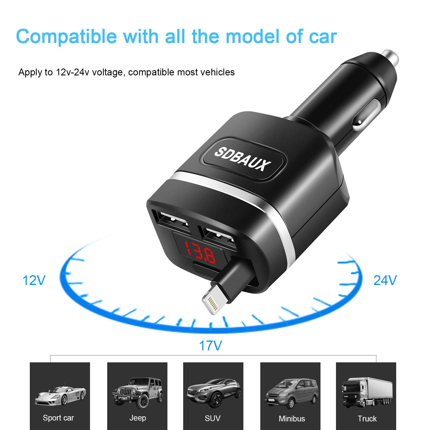 Black SIQIWO Car Charger,Quick Charge 4.8A//24W with 2.8ft Retractable Cable Compatible//Replacement for iPad iPhone Xs Max XR X 8 7 6 5S Plus iPod,2 USB Ports for Samsung Galaxy LG and More