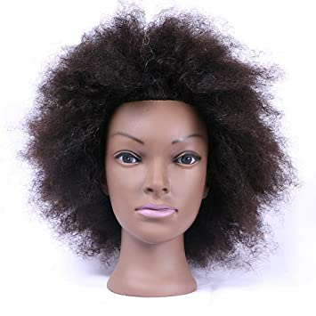 bbf9d91b15ae4 Amazon.com   Mannequin Head with 100% Human Hair Cosmetology Afro Hair  Manikin Head for Practice Styling Braiding   Beauty