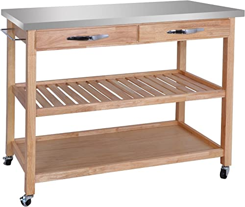 ZenStyle 3-Tier Rolling Kitchen Island Utility Wood Serving Cart