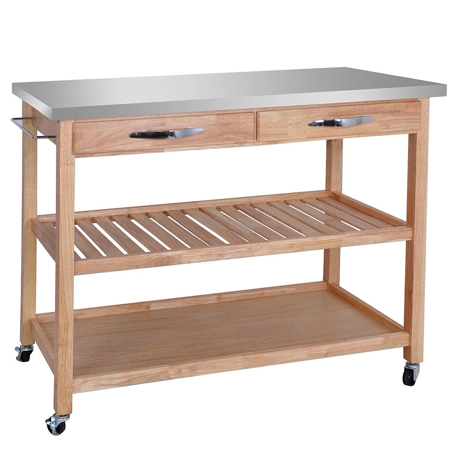 ZenStyle 3-Tier Rolling Kitchen Island Utility Wood Serving Cart Stainless Steel Countertop Kitchen Storage Cart w Shelves, Drawers, Towel Rack