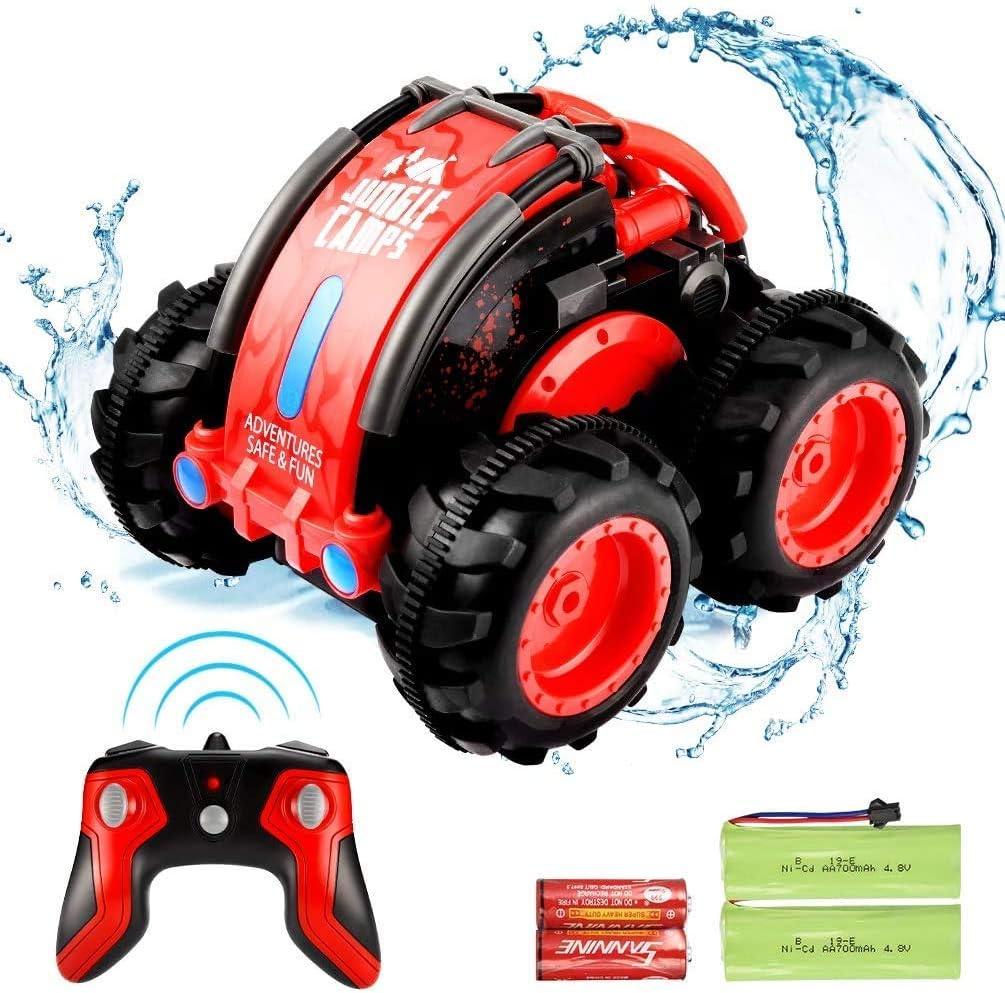 SZJJX Control remoto Coche RC Barco 4WD 2.4Ghz Stunt Car Vehículo Rotación 360 ° Giros y vueltas Tierra Agua Multifunción Juguete anfibio Regalo para niños Niña Niño, Rojo