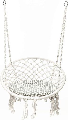 Macram Swing Hammock Chair-Max330lb White