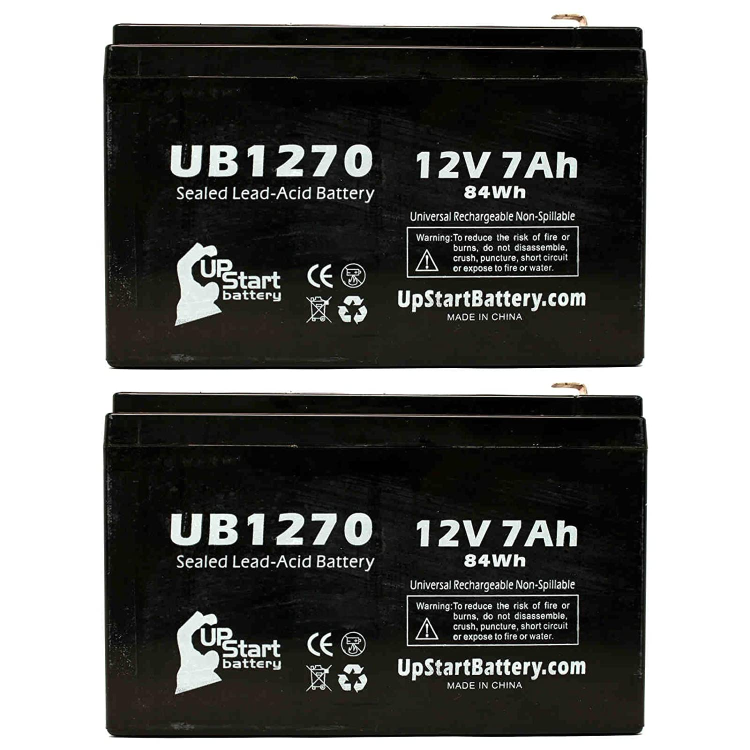 2x Pack - APC BACK-UPS 1300 RS1300 Battery - Replacement UB1270 Universal Sealed Lead Acid Battery (12V, 7Ah, 7000mAh, F1 Terminal, AGM, SLA) - Includes 4 F1 to F2 Terminal Adapters Upstart Battery UB1270-2BATT-DL285