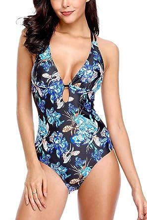 c246f5970c Vegatos Women Floral V-Neck Plunge One Piece Swimsuit Padded Bathing Suits