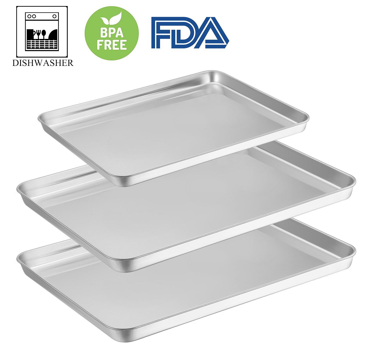 Baking Sheet Pan Set of 3, E-far Stainless Steel Oven Tray Cookie Sheet, Non Toxic & Rust Free, Mirror Polish & Easy Clean, Dishwasher Safe by E-far