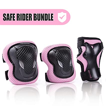 92b6c430e64 Kuxuan Girl s CIRA Pink Protective Gear Set Including Knee Pads Elbow Pads  and Wrist Guards