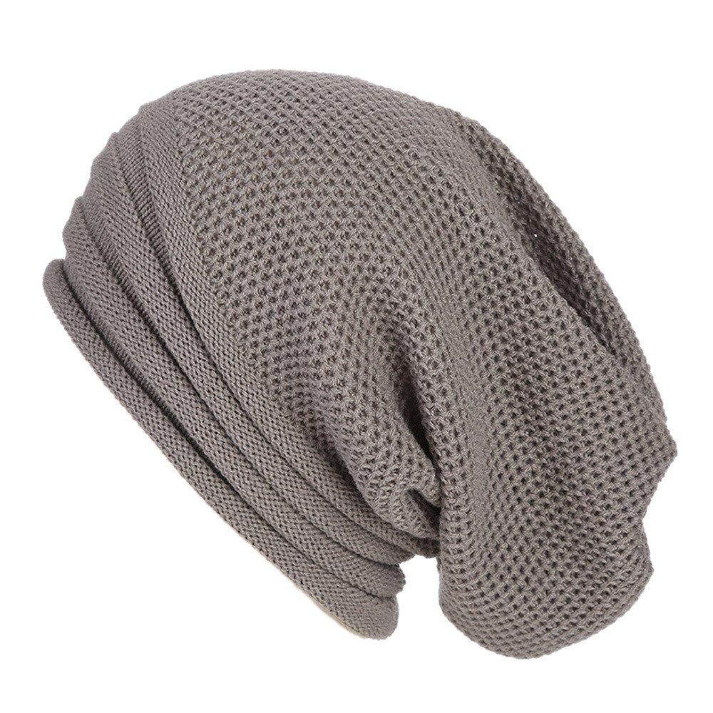 TWGONE Womens Caps Baggy Warm Crochet Winter Wool Knit Ski Beanie Skull Slouchy Caps Hat(One Size,Gray)