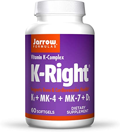 Jarrow Formulas K-Right - 60 Softgels - Bone & Cardiovascular Health Support - Contains Vitamin D3 & Three Forms of Vitamin K Including MK-7-60 Servings