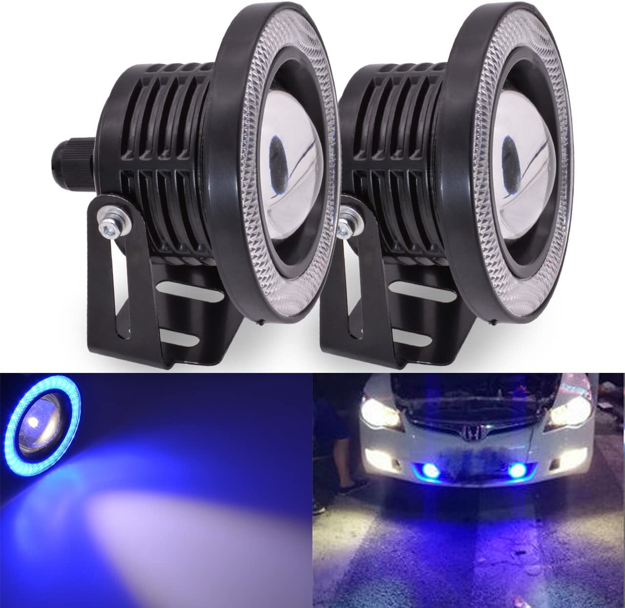 KaTur 2 st/ücke High Power 2,5Projektor Universal Wei/ße Nebelscheinwerfer Blau COB Halo Angel Eye Ringe DRL Fahrscheinwerferlampen