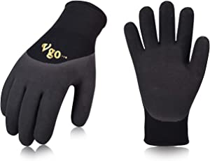 Vgo 5Pairs Freezer Winter Work Gloves, Double Lining Rubber Latex Coated for Outdoor Heavy Duty Work(Size L, Black, RB6032)