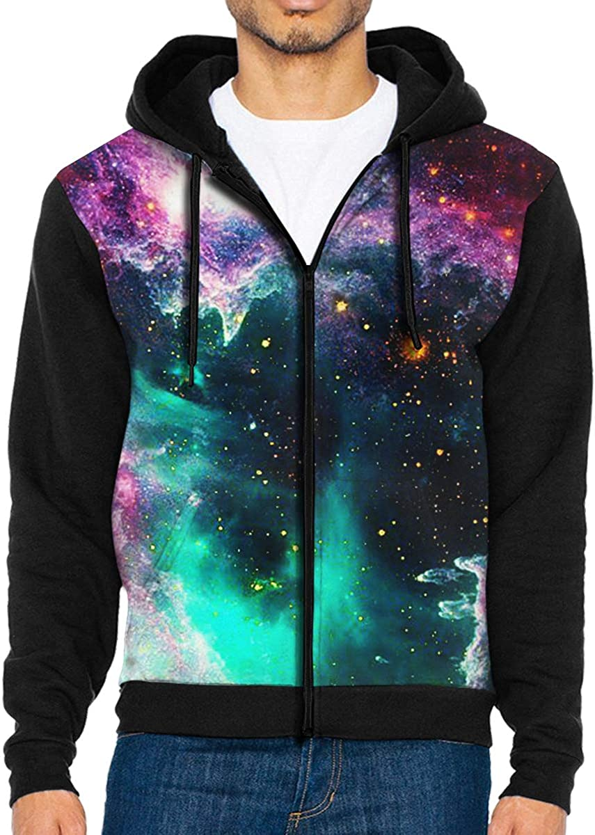 HEHE TAN Men Pullover Hood Galaxy Constellation Zip Hoodies Hooded Classic Jackets Coats