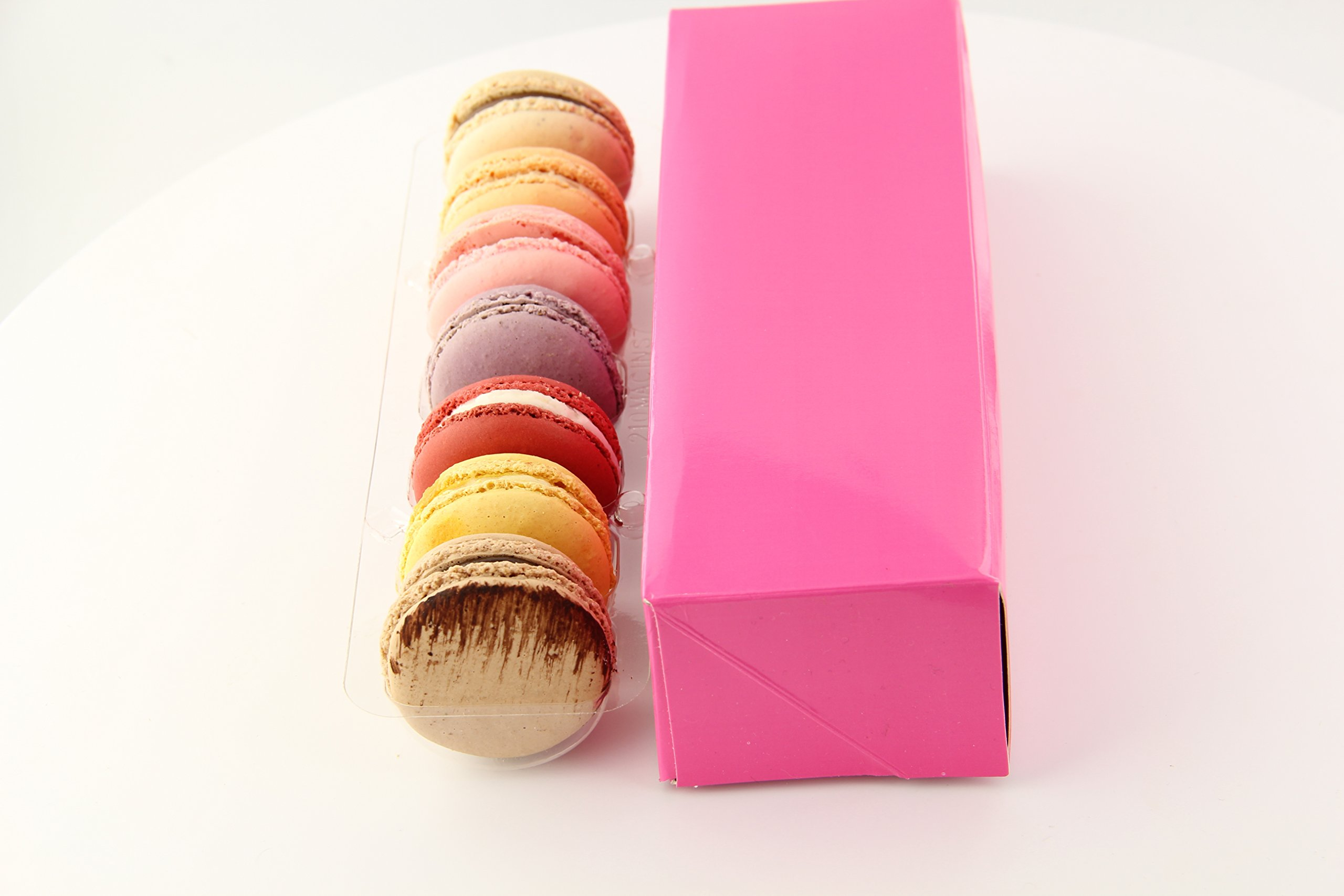 PackNWood 210MAC7 Pink Box with Window for 7 Macarons - 8.5 x 2.7 x 1.9'' - 250 per case