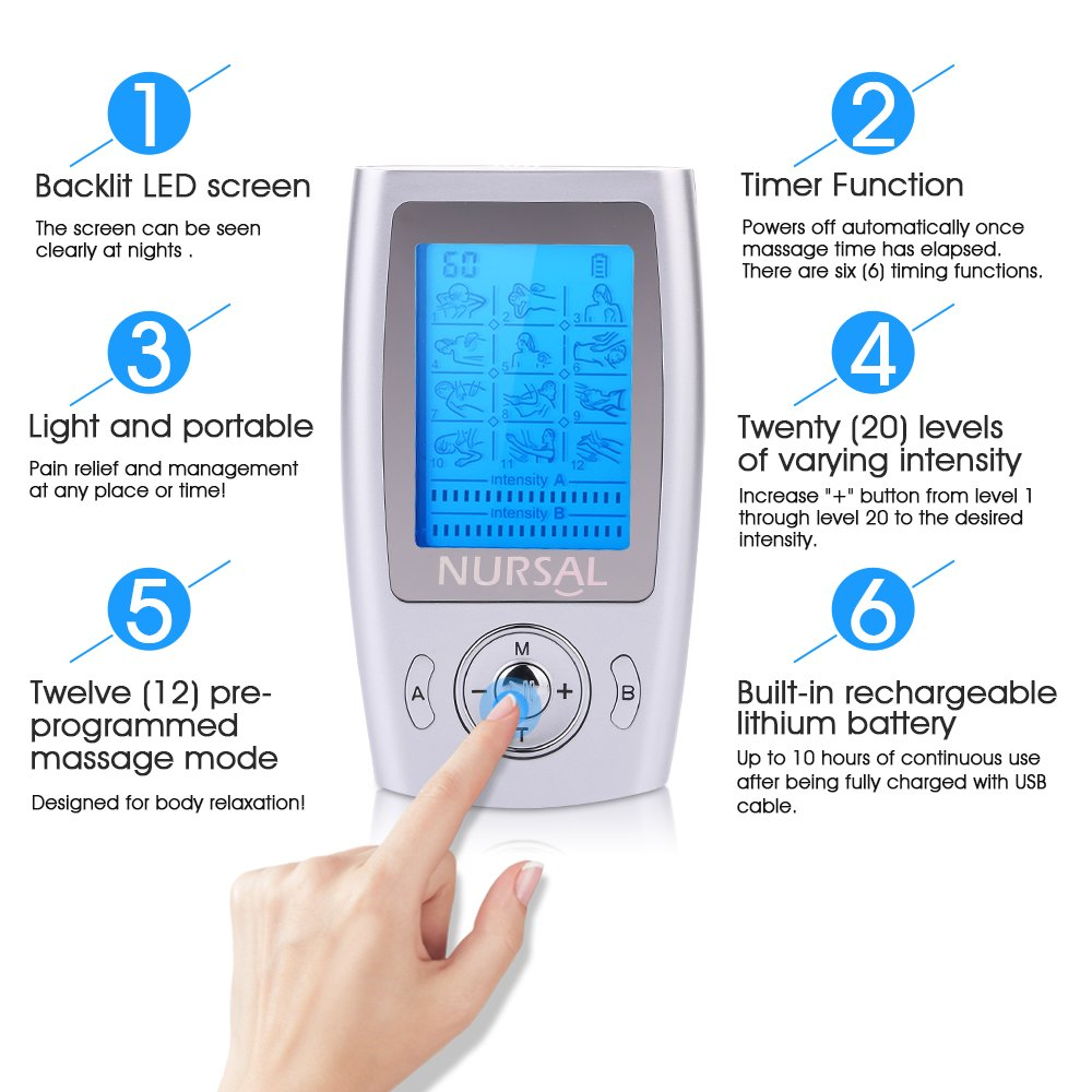 NURSAL Rechargeable FDA Cleared TENS Units Muscle Stimulator, Pain Relief Machine with 8 Pads for Pain Management and Rehabilitation by NURSAL (Image #4)