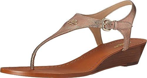 20a537776afb Coach Womens  Vitalia Metallic Crossgrain Wedge Thong Sandals